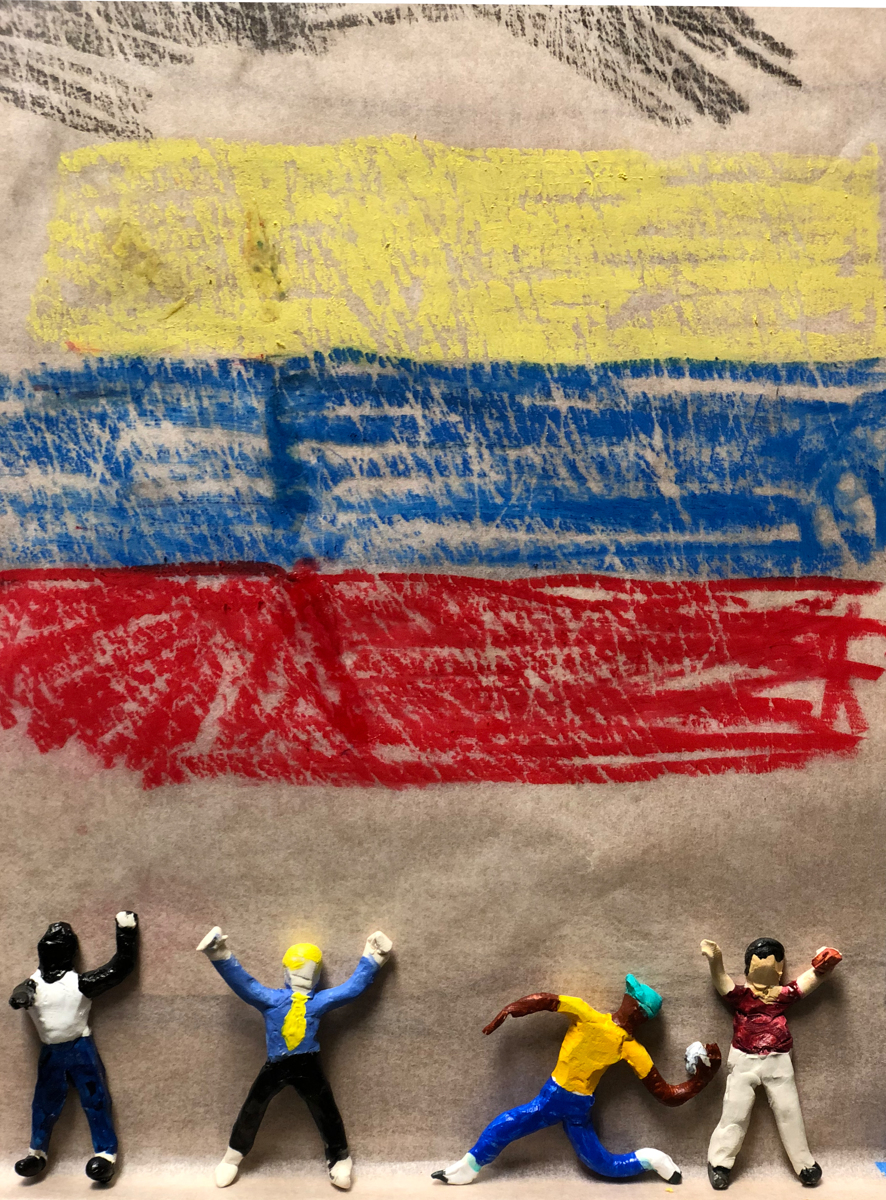 Protest: Four guys and Venezuelan flag (large view)