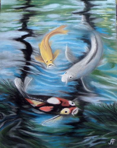 Koi, reflections in a pond. by Judi Forney Art