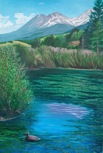 Ducky View of Mt. Shasta by Judi Forney Art