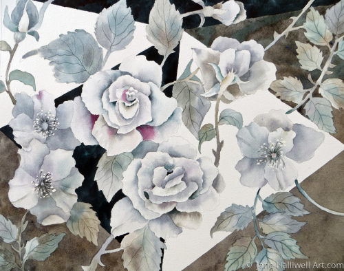 Black and White Roses by  Jane Halliwell Art.com