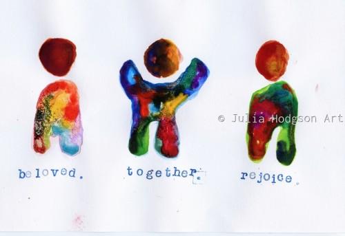 beloved. together. rejoice. (sticker)