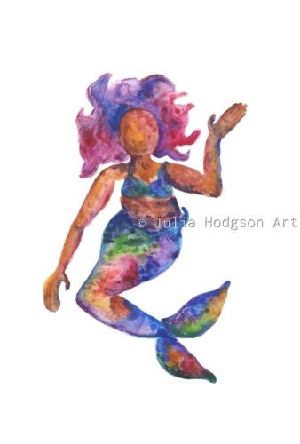 rainbow mermaid (mini print/sticker)