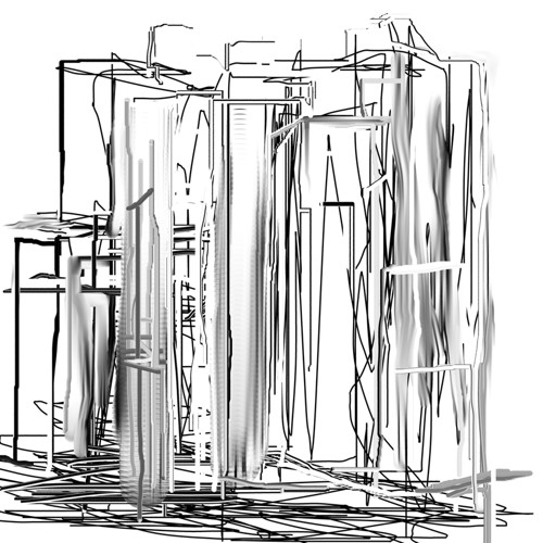 Black and White Abstract City by Jessica Hughes Digital and Graphic Art