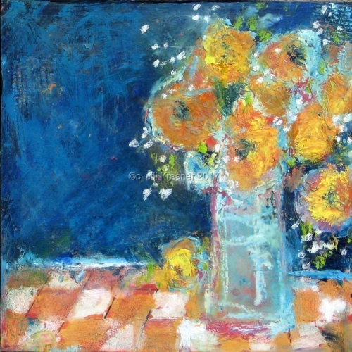 BOUQUET ON CHECKERED CLOTH by jill krasner gallery