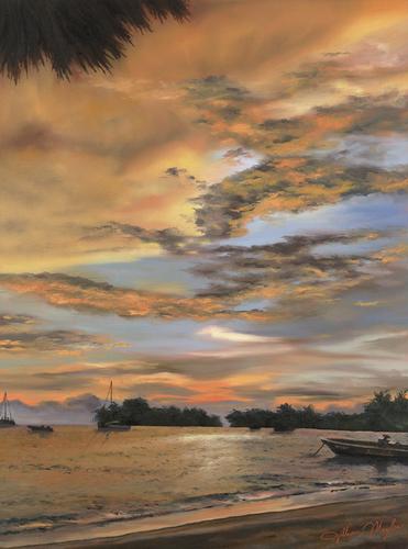 Jamaican Sunset, 2008. Oil on canvas by JILLIAN MAYLES