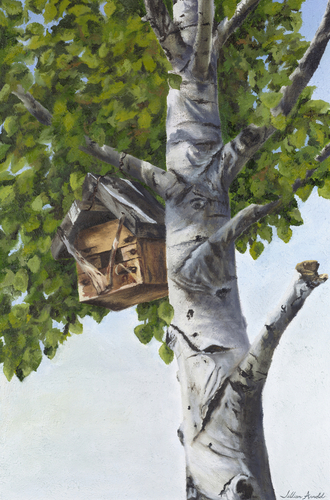 Papa's Birdhouse, 2006. Oil on canvas by JILLIAN MAYLES