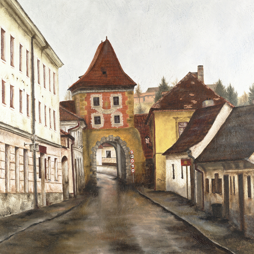 Cesky Krumlov, 2005. Oil on canvas by JILLIAN MAYLES