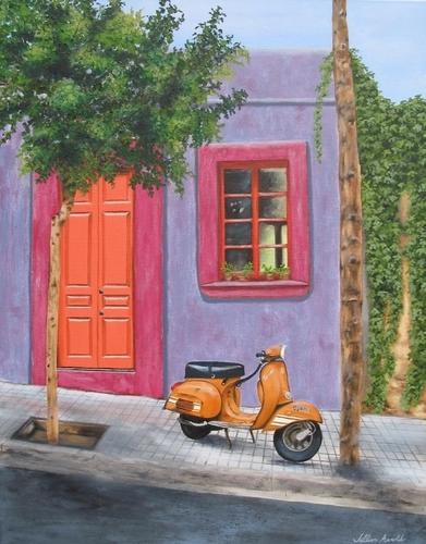 Barcelona Scooter, 2007. Oil on canvas by JILLIAN MAYLES