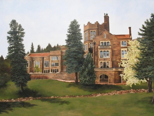 Glen Eyrie Castle in Spring, 2007. Oil on canvas
