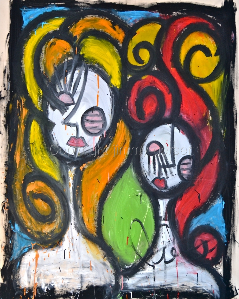 original, painting, girl, curl, hair, red head, SISTERS (large view)