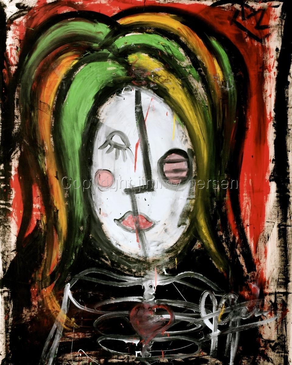 original, painting, girl, curl, hair, red head, skeleton, heart (large view)