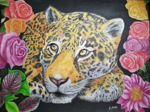 Leopard & flowers