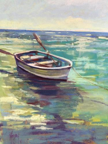 Blue Water and Boat by Joanna Karpay