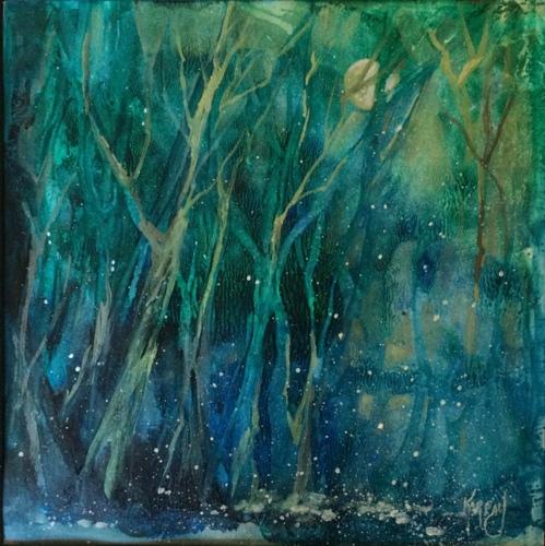 """Firefly Moon, 14 X 14""""  Acrylic  by Joanna Karpay"""