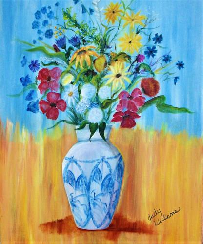 Blue Vase and Flowers