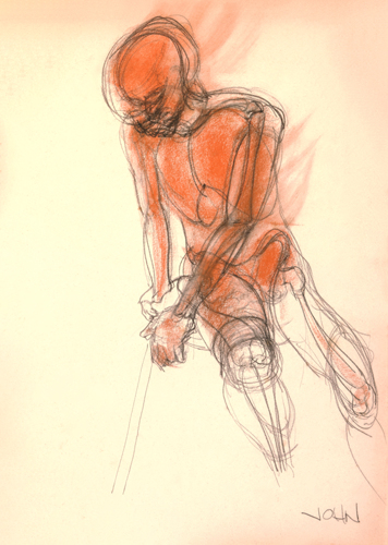 Life Drawing in Conte' Crayon