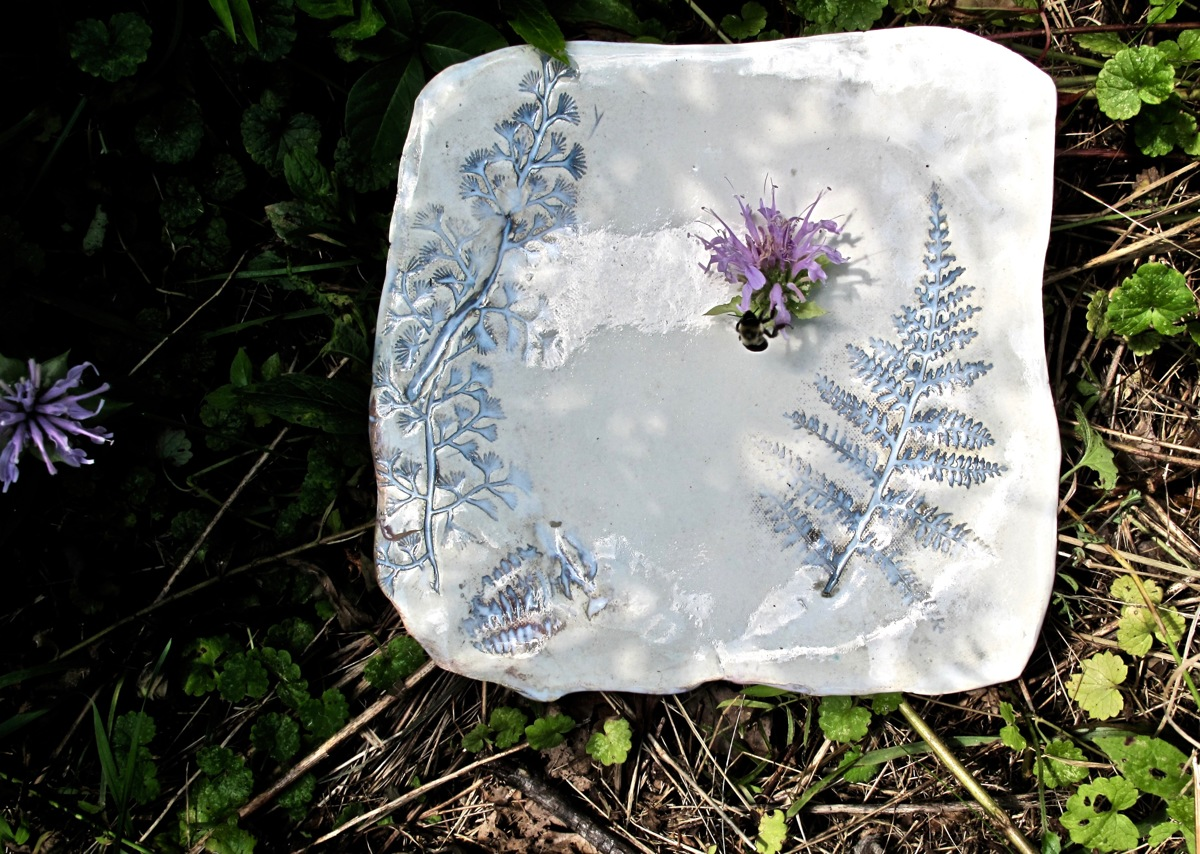 Small Plate in the woods, with bee and bee balm (large view)