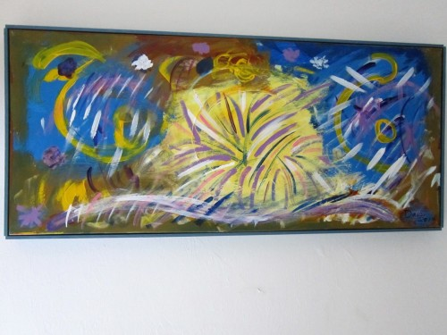 ANOTHER WORLD  16X36  ACRYLIC ON CANVAS by ART BY DAIS