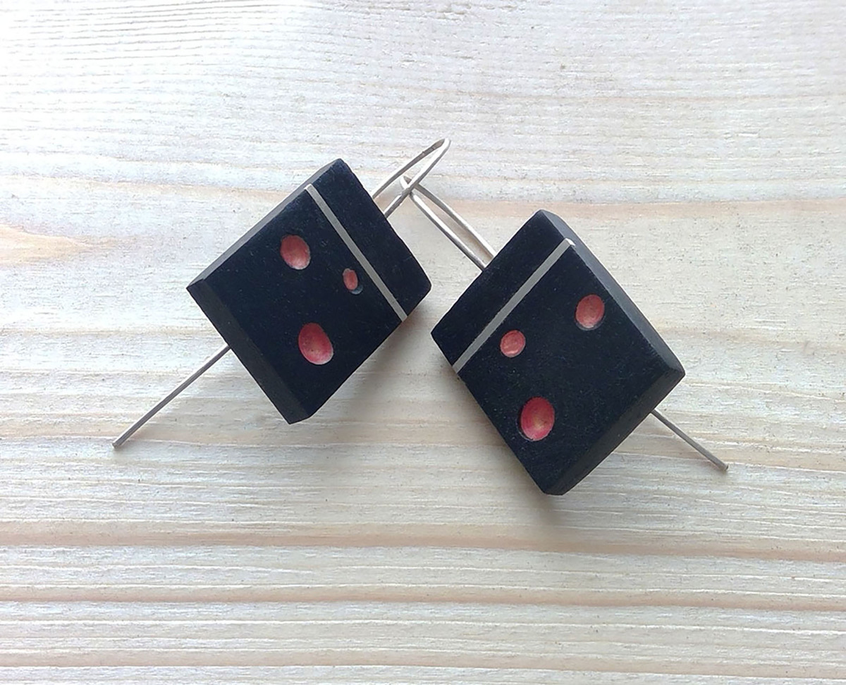 Handpainted Aftican Ebony Earrings (large view)
