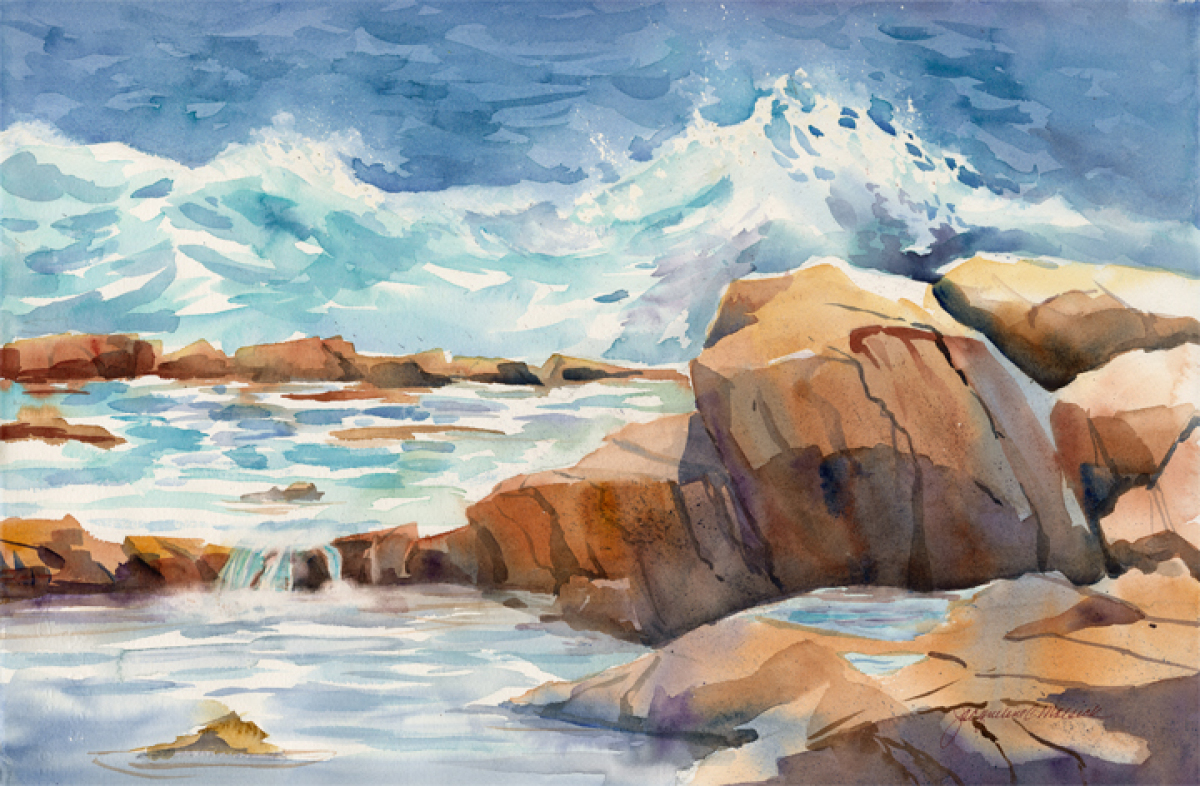 Seascape Watercolor Paintings On The Rocks By Jackii Molsick