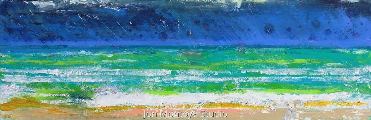 Seascape Study in Aqua and Peach (large view)