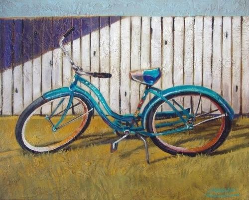 Blue Schwinn White Fence