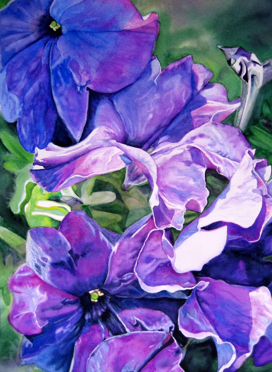 Judy Nunno, purple posies (large view)