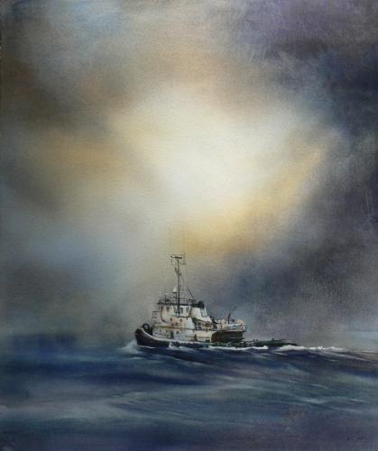 Tug Boat by Joan Mostad