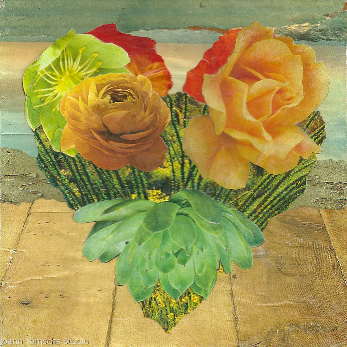 Cactus Rose Heart collage (large view)