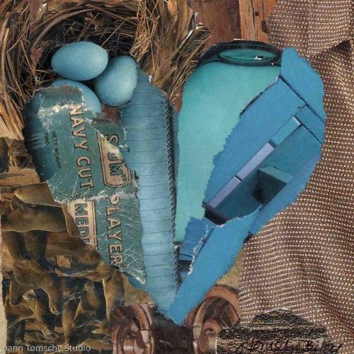 Aquamarine art tile by Joann Tomsche Studio