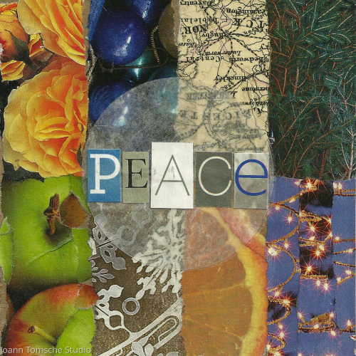 Peace art tile by Joann Tomsche Studio