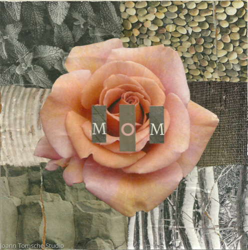 Apricot Rose Mom art tile