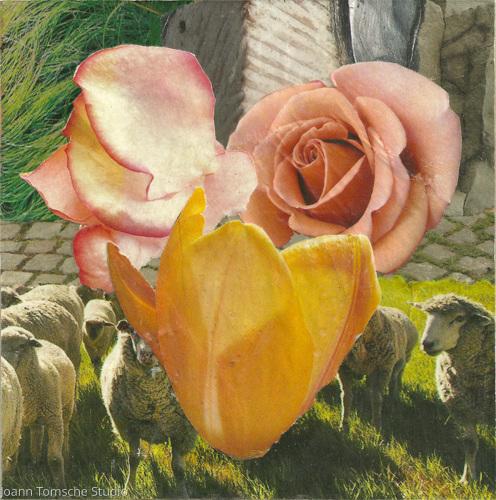 Meadow Rose Art Tile by Joann Tomsche Studio