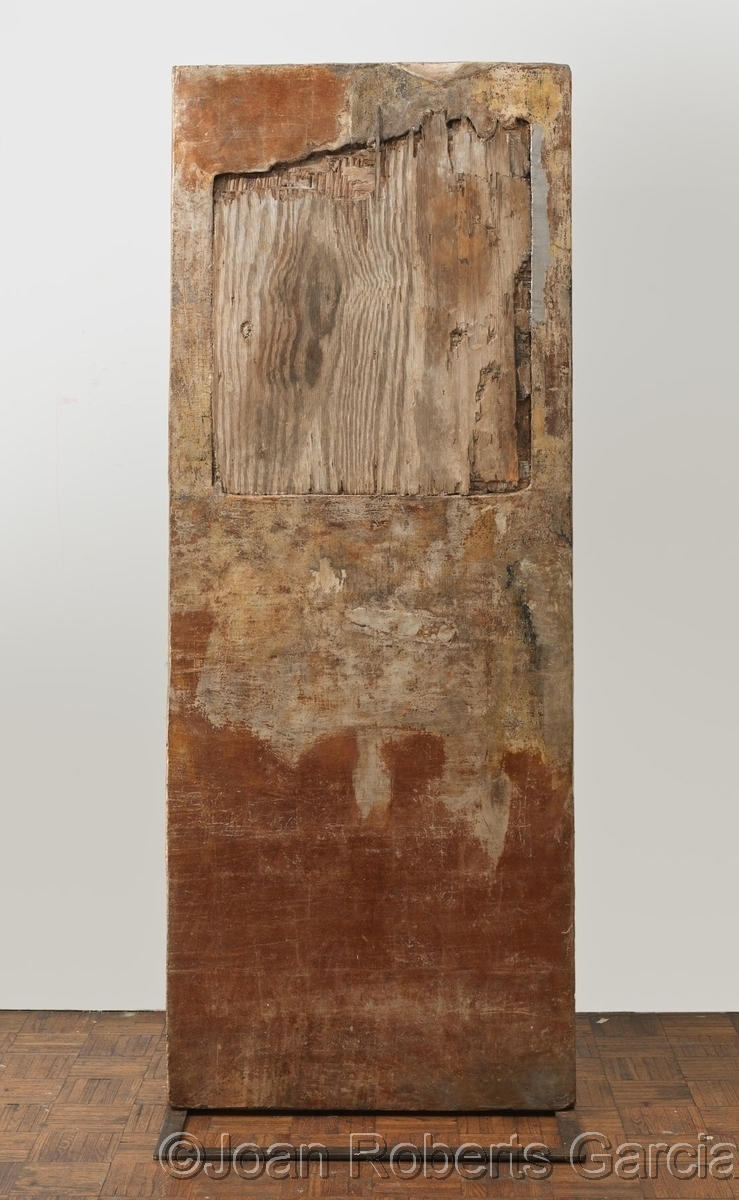 Free standing mixed media sculpture, incorporating weathered plywood, boards, mixed media, silver leaf, and palladium with a steel stand. (large view)