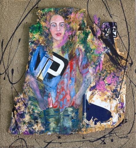 "This mixed media piece describes a determined young woman hardened by life.  It measures 24""x22"" and is part of the unhinged installation.  Began in 2010 and finally completed in 2012. (large view)"