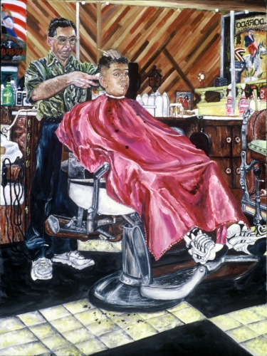 Unique barbershop painting print of a teenage male getting a haircut. (large view)
