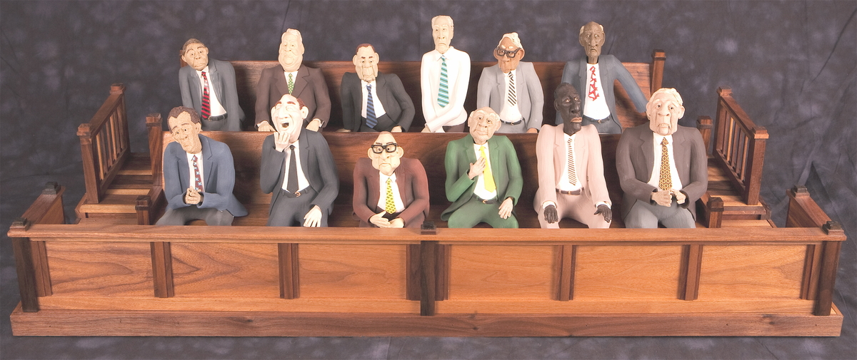"Twelve clay figures seated in a jury box.  Inspired by the movie ""Twelve Angry Men"".  Various suits and ties.  A dozen entirely different characters.  Caricatures of everyday people doing their civic duty showing their attitudes. (large view)"