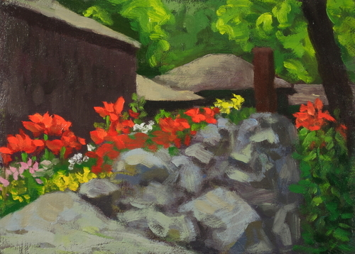 Fancher Road Series - Stone Steps Garden, Lilies Beside the Barn