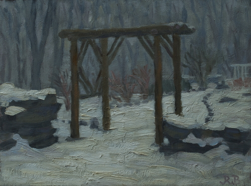Fancher Road Series: Stone Steps - The Garden in Snow and Fog