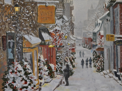 Christmas window shopping in Old Quebec by John J.  Abisch - Fine Art