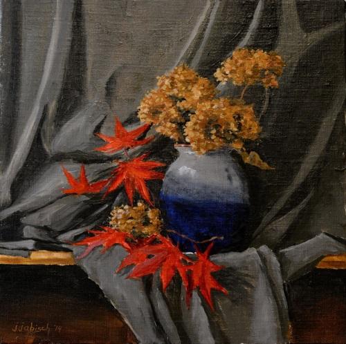Dried Hydrangeas with Japanese Maple Leaves by John J.  Abisch - Fine Art