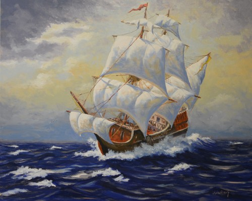 Out on the High Seas by John J.  Abisch - Fine Art