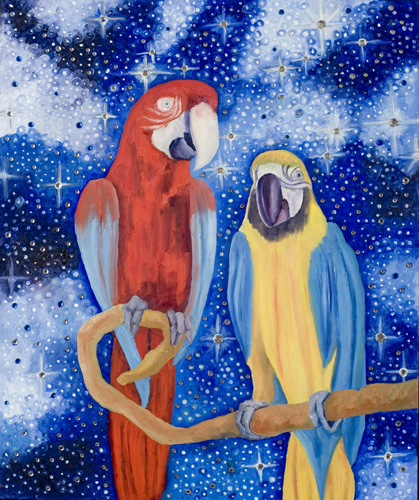 """Two Parrots in Cosmos"" by John Krautsack"