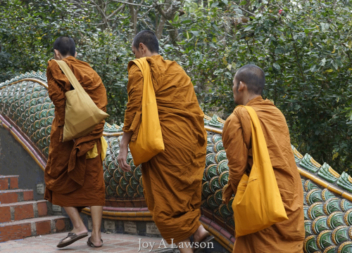 Three Monks Climb to Thai Tempe