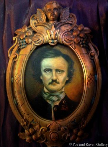 Edgar Allan Poe Original Oil Painting in Antique Gothic Angel Frame