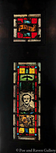 Edgar Allan Poe w Raven - Painted & Kiln Fired Gothic Stained Glass Window in Antique Wooden Shutter
