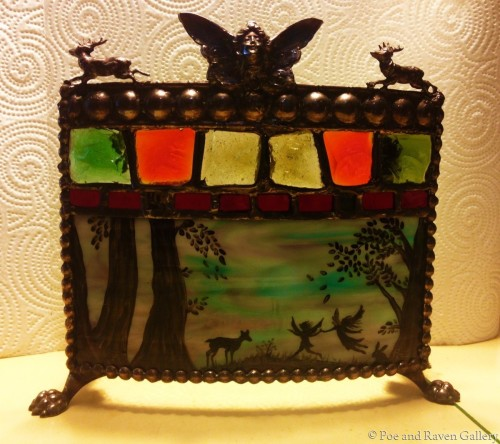 Woodland Fairy Painted Stained Glass Candle Holder