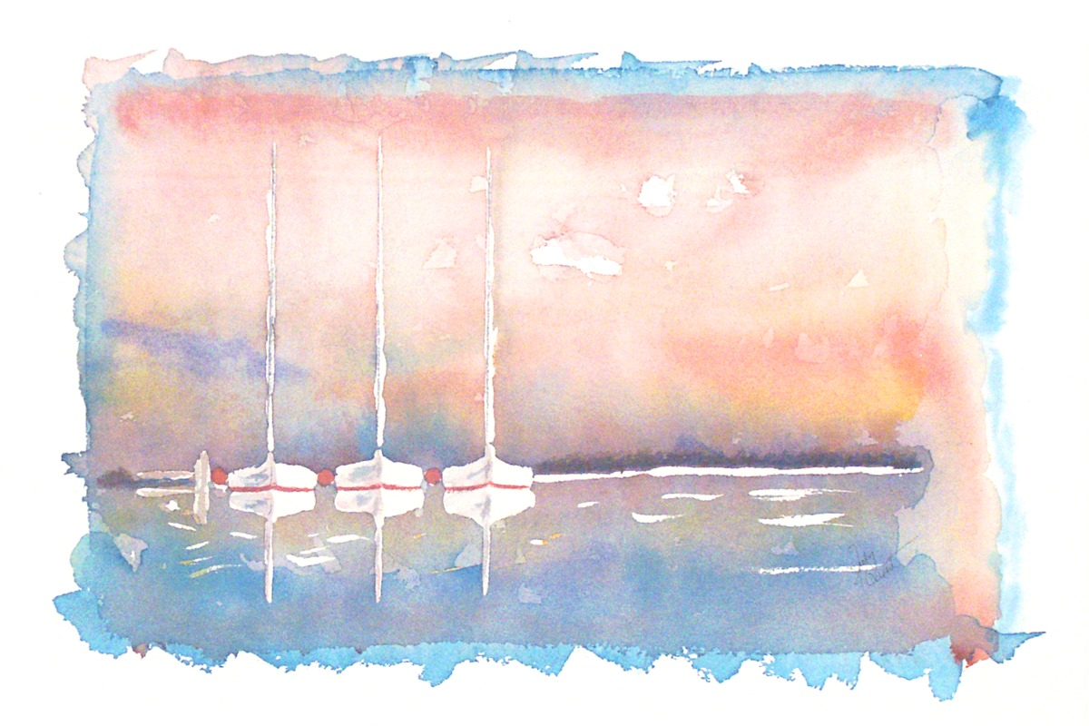 Sunset Sailboats (large view)