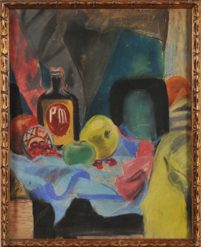 Still Life with Fruit & PM Bottle by Jacqueline Rabbiner