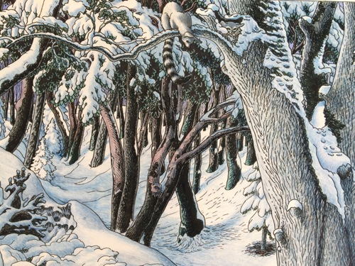 Tapestry #12, The Forest: Ringtails in a snowy glen